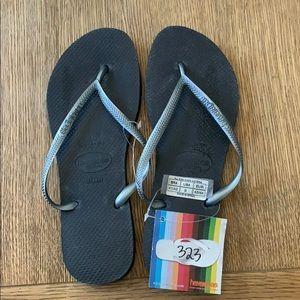 Havaianas, 41-42, black, thin strap, new